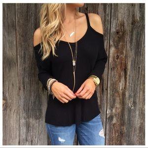 ✨RESTOCKED✨ Black waffle knit cold shoulder top